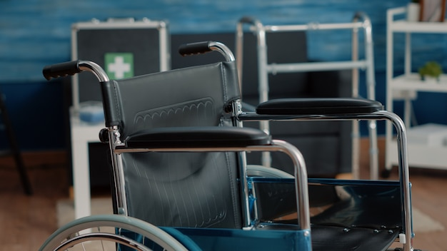 Close up of wheelchair in empty nursing home at clinic