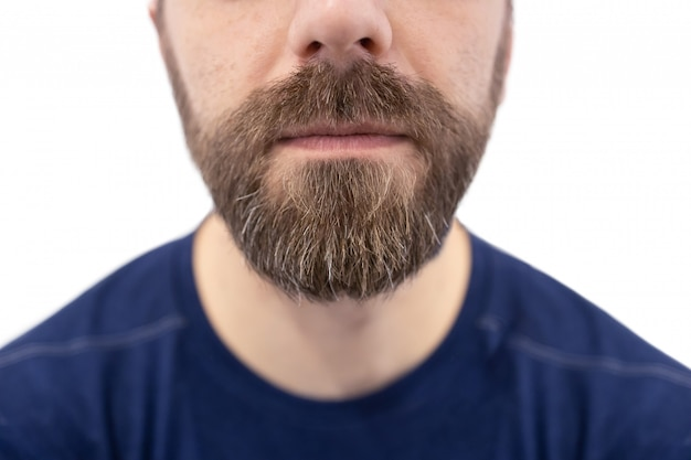 Close-up on white caucasian  man beard and mustache