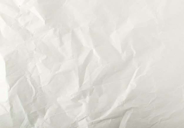 Close up on white crumpled paper details