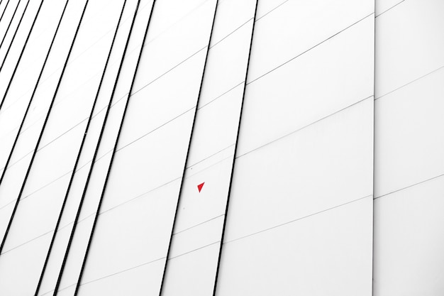 Close-up white facade of a modern building