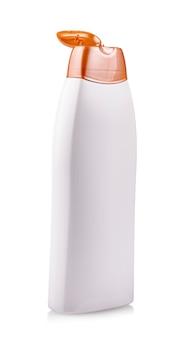 The close up white opened blank plastic bottle on isolated background
