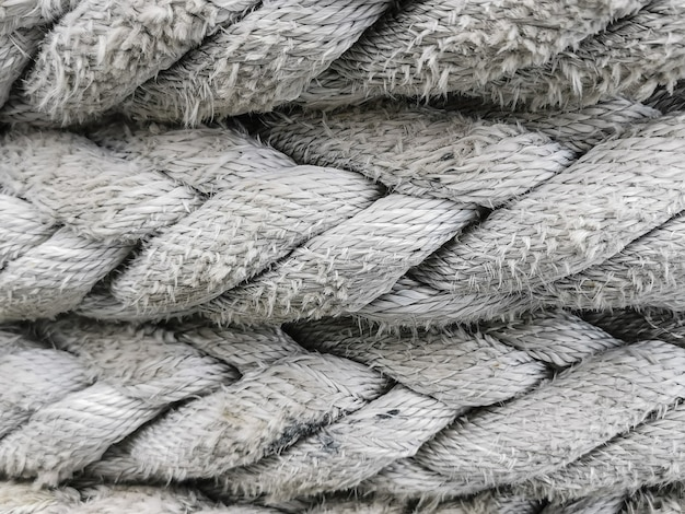 Close-up white rope texture. abstract background