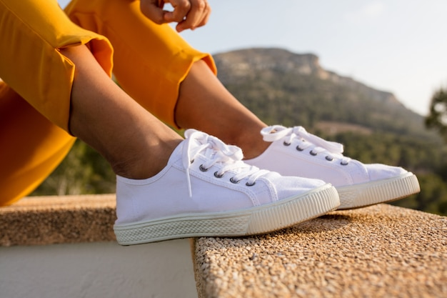 Close-up of white sneakers