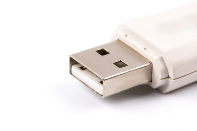 Close-up of white usb flash drive
