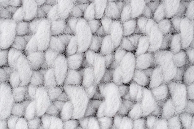 Close-up of white wool crocheting pattern