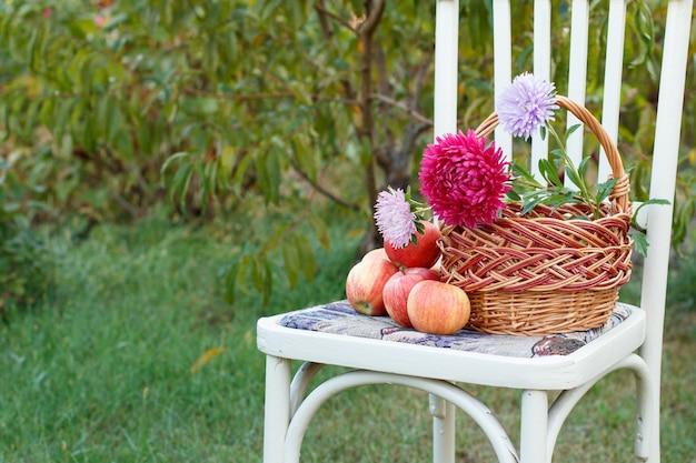 Макро плетеная корзина с цветами и яблоками на белом деревенском стиле стуле в саду на зеленом естественном фоне.