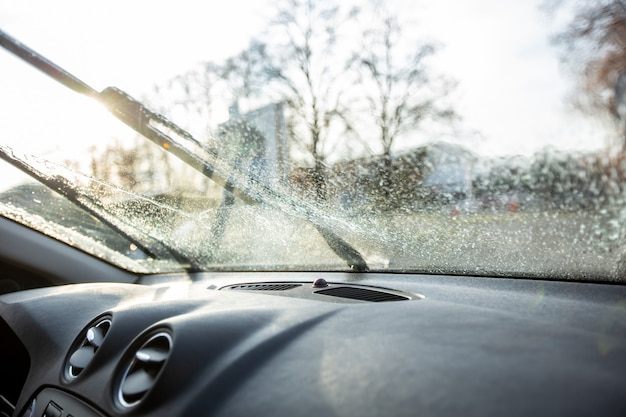 Close up of a windscreen washers, clear view of he driver