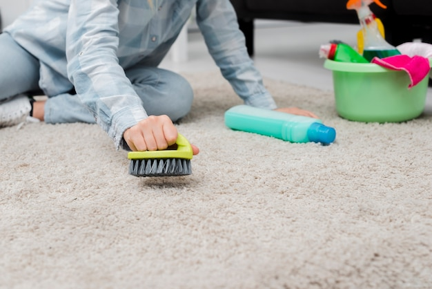 Close-up woman brushing carpet