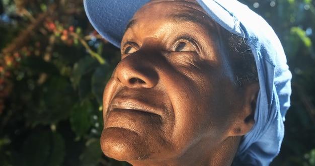 Close up woman from brazil on coffee plantation. latin woman.