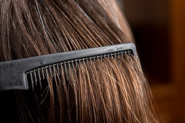 Close up woman at hair salon