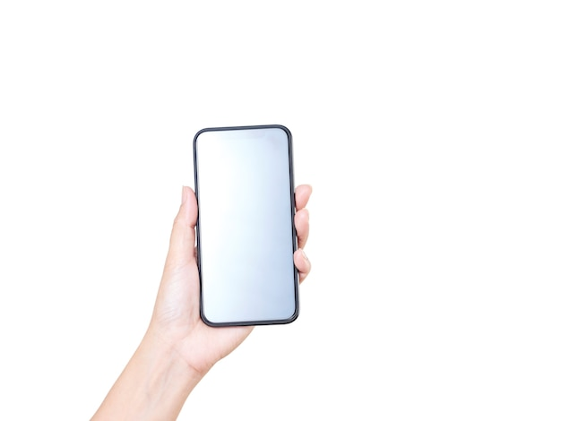 Close-up of woman hand holding smartphone with blank screen, mock-up on white background