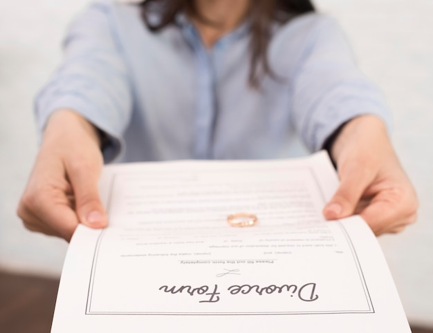 Close-up woman holding divorce form