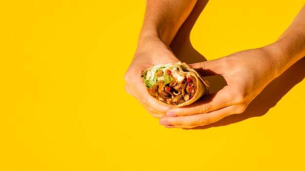 Close-up woman holding tasty burrito
