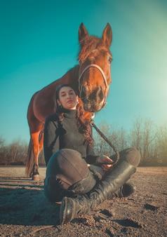 Close up of woman on horseback