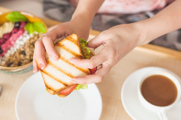 Close-up of woman's hand holding sandwich