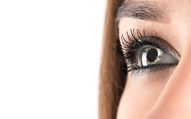 Close up of a woman's opened eye looking up