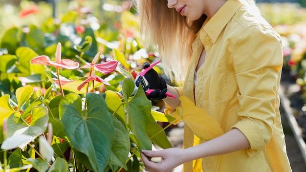 花の世話をするクローズアップの女性