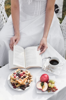 Close-up of a woman turning pages of book with breakfast and coffee on table