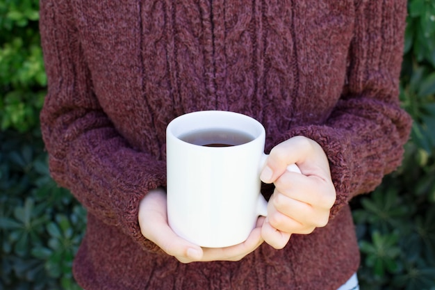 Close-up of a woman wearing woolen sweater holding mug of herbal tea