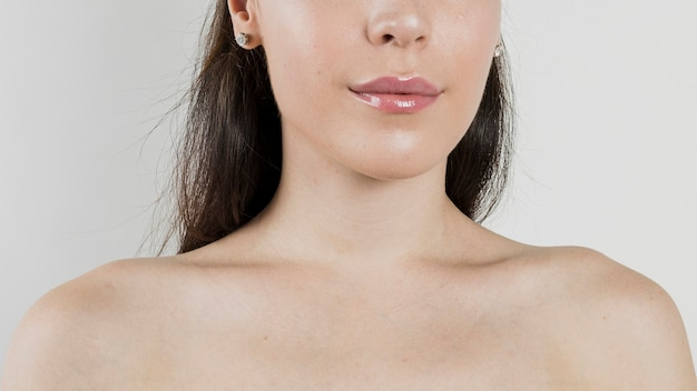 Close up woman with bare shoulders