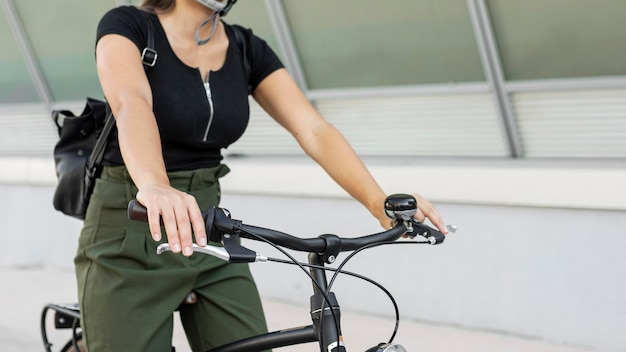 Close-up woman with bicycle