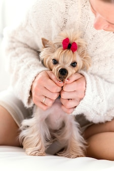 Close up donna con graziosi animali domestici a casa