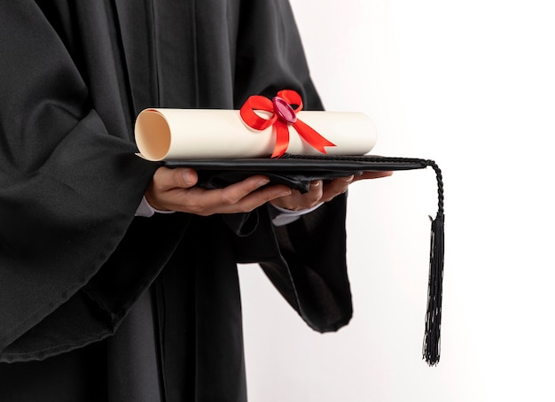Close up woman with graduation diploma