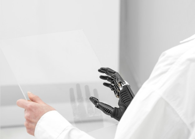 Close up woman with hand prototype