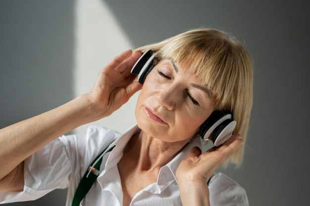 Close up woman with headphones
