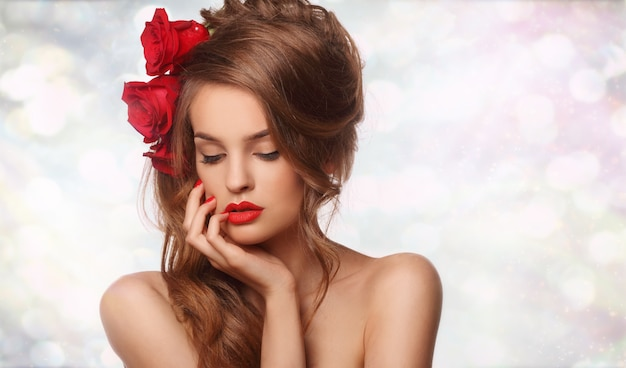 Close up on woman with rosses in her hair