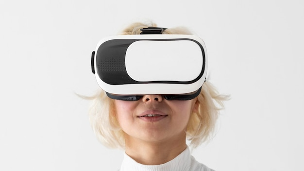 Close up woman with vr glasses