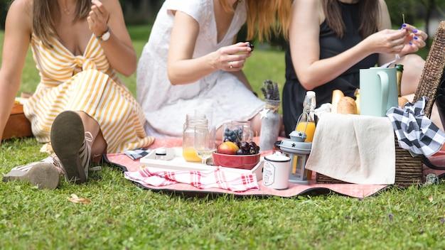 Primo piano delle donne che si siedono sull'erba verde che gode al picnic