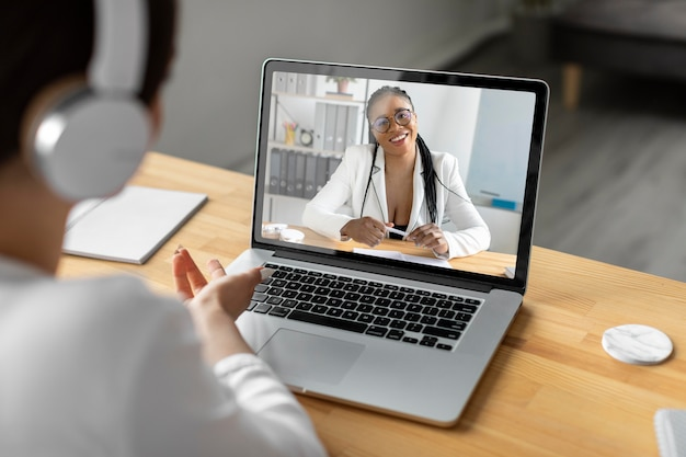 Close up women video calling