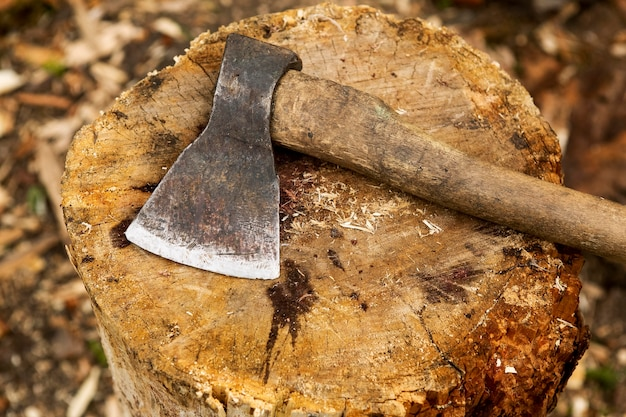 Close-up wood chopping axe