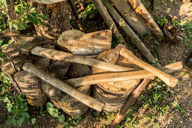 Close-up wood chopping axes