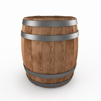 Close up on wooden barrel isolated