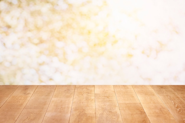 Close up on wooden floor and colorful wall