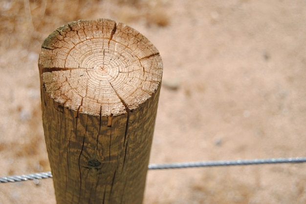 Close up of wooden log and metal fence