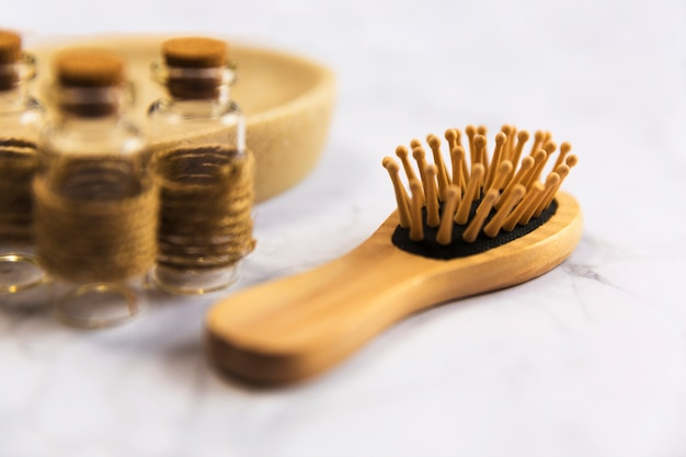 Close-up of wooden massage comb