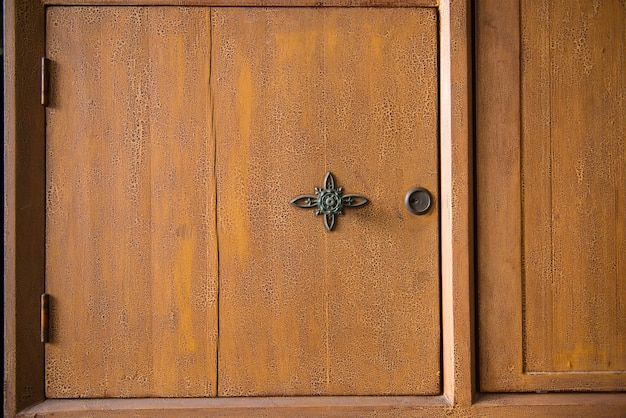 Close-up of wooden wardrobe with knob