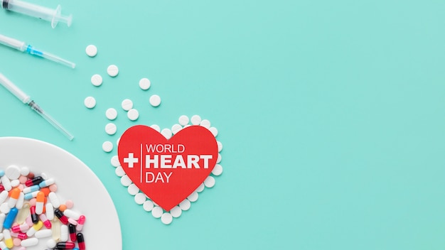 Close-up world heart day concept with copy space
