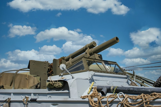 Close up on world war two american howitzer