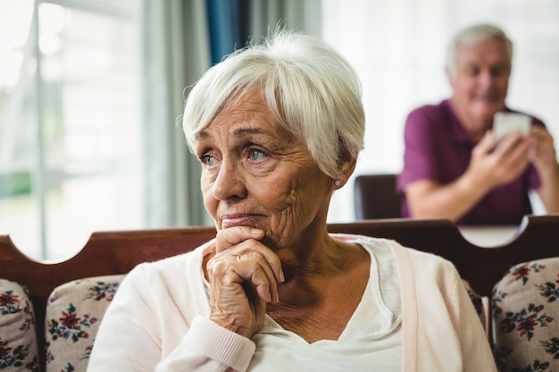 Close-up of worried senior woman