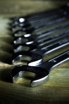 Close up of wrenches in a row