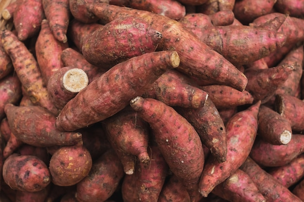 Close up yam pile in the market