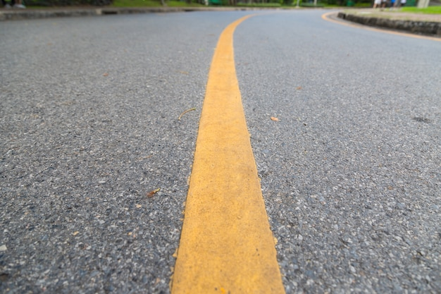 Close up of yellow line on the public park