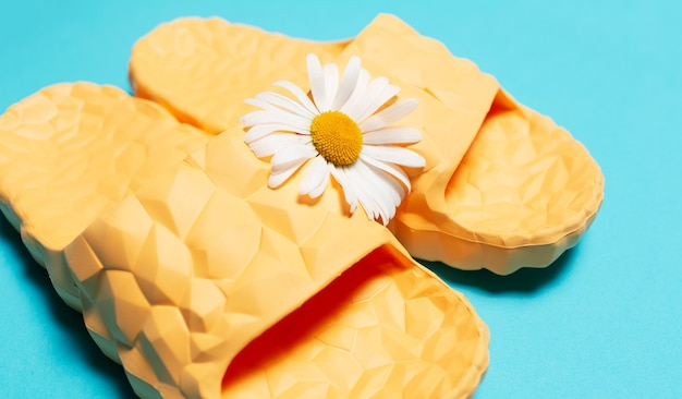 Close-up of yellow modern slippers and white chamomile flower  background.