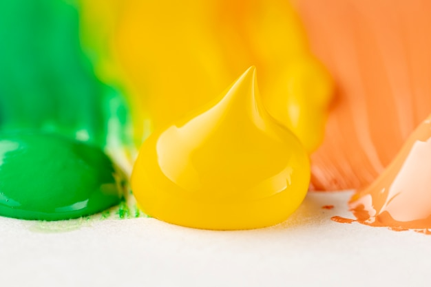 Close-up of yellow, orange and gree paint