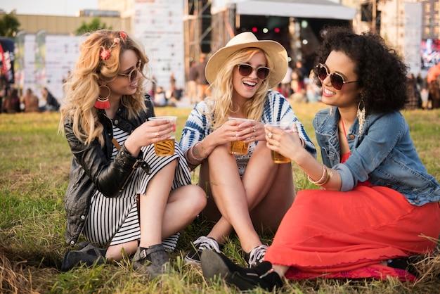 Close up on young beautiful women having fun