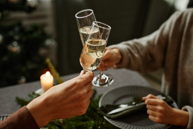 Close up of young couple enjoying christmas dinner together and toasting with champagne glasses whil...